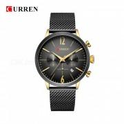 CURREN 8313 dial redondo reloj de pulsera analogico de metal de cuarzo unisex con dos esferas decorativas - dorado + negro