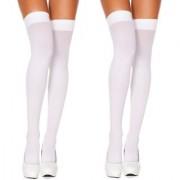 Neska Moda Women 2 Pair Nylon White Thigh Highs Stockings