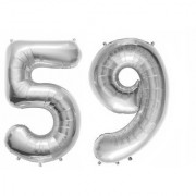 De-Ultimate Solid Silver Color 2 Digit Number (59) 3d Foil Balloon for Birthday Celebration Anniversary Parties