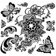 Tatuaj temporar -flori si fluturi ornamentali si tribali- 24X22cm