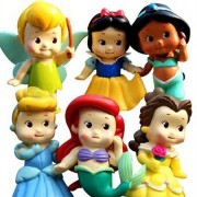 Set of 6 Chunky Baby Toddler Princess 2 Figures Featuring Tinker Bell Snow White Jasmine Cinderella Belle and Ariel