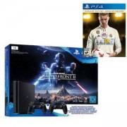 Конзола PlayStation 4 (1TB, black, Slim) Star Wars Battlefront II + 2 DualShock Controller+Игра FIFA 18 Ronaldo edition за Playstation 4