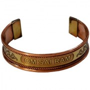 Men Style Stylish Look Om Sai Ram Half Kada Gold And Copper Copper Round Cuff Bangle For Men And Women