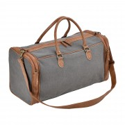 Corium® Чанта за пътуване, 27 x 54 x 23 см - спортна чанта (ръчен багаж) от еко кожа и лен-сиво/кафява