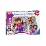 Puzzle Dora Si Prietenii, 3X49 Piese Ravensburger