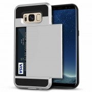 Satin Silver Protective Shell Slide Armor Card Holder Case For Samsung Galaxy S8 Plus