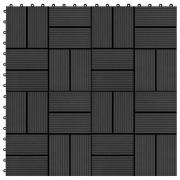 vidaXL Plăci de pardoseală 11 buc, negru, 30 x 30 cm, WPC, 1 mp
