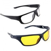 BIKE MOTORCYCLE CAR RIDINGNV NIGHT VIEW Night Driving HD Glasses Yellow Color Glasses For Car & Bike Riding Set Of 2 (AS SEEN ON TV)(DAY & NIGHT)(With Free Microfiber Glasses Brush Cleaner Cleaning Clip))