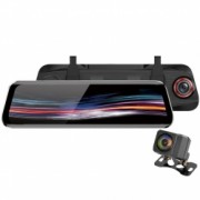 Camera Auto Dubla Oglinda iUni Dash T11+ Touchscreen Display 9.66 inch Full HD Night Vision WDR 170 grade by Anytek Bonus Bratara Roca Vulcanica unisex