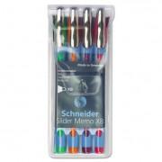 Schneider Memo Xb Ballpoint Stick Pen, 1.4mm, Assorted Ink