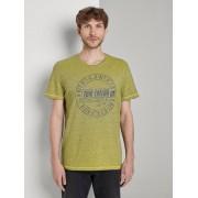 TOM TAILOR Gestreept T-shirt met bedrukt motief, Heren, yellow overdye stripe, XXXL