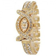 American Diamond Oval Studded Wrist Bracelet Cum Quartz Watch - Women 6 MONTH WARRANTY