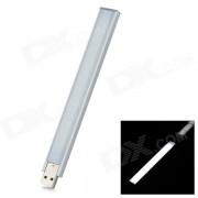 L-07 2.5W 100lm 6300K 14-LED lampara de luz blanca Noche USB - blanco plateado