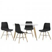 [en.casa] Juego de comedor - mesa blanca 120 x 70 x 75cm + sillas negras 80 x 44,5cm