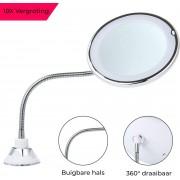 Make-up Spiegel - Met Verlichting - 10x Vergroting - LED - 360° Draaibaar - Mis Geen Haar - Met Zuignap - Make-up Licht - Klein - Wit - VanityLights