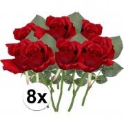 Bellatio flowers & plants 8x Rode rozen kunstbloemen 30 cm