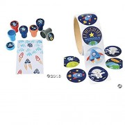 24 OUTER SPACE Ink Stampers & 100 Space STICKERS - Arts & Crafts Stocking Stuffers PLANETS Solar System ROCKETS PARTY FAVORS Classroom Activity by Just4fun