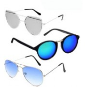 GreatDio Round, Cat-eye, Aviator Sunglasses(Blue, Silver)