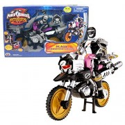 Bandai Year 2007 Power Rangers Operation Overdrive Series 8 Inch Long Action Figure Vehicle Black Zordtek Cycle With Black Power Ranger And Light Up Zord Head