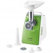 Tocator de carne Bosch CompactPower MFW3520G, Nominal 500 W, Max 1500 W, 1,8 kg/min, tava suport incarcare plastic, presa, 2 discuri tocare medie/grosiera, accesoriu kebbe, palnie carnati, alb/verde