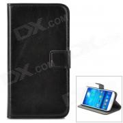 A-556 Funda protectora de cuero PU con ranura para tarjetas para Samsung Galaxy S4 i9500 - Negro