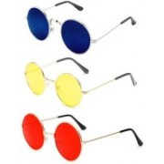 FOX fusion Round Sunglasses(Red, Yellow, Blue)