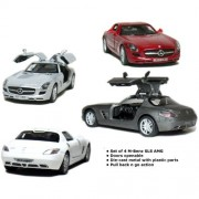 """Set of 4: 5"""" Mercedes Benz SLS AMG 1:36 Scale (Grey/Red/Silver/White)"""