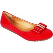 Vilax Shining patent Ballerinas With Buckle Embellishment Party Wear(Red, Beige)