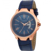 Invaders Blue Copper Day Date INV-LGND-DND-BLU Mens Leather Strap Watch