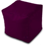 Dolphin Footstool Puffy Bean Bag-Maroon-With Bean/Filled