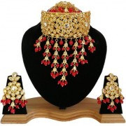 Finekraft Ravishing Meena Kundan Gold Plated Bridal Wedding Designer Necklace With Stunning Tikka Earrings Set
