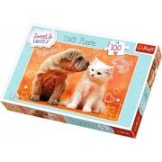 Puzzle Trefl 100 piese - Catelus si pisica, Hugs Kisses