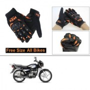 AutoStark Gloves KTM Bike Riding Gloves Orange and Black Riding Gloves Free Size For Hero Splendor