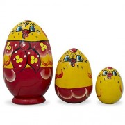 """4.75"""" Set Of 3 Hen And Chicks Red Scarf Wooden Easter Eggs Matryoshka Russian Nesting Dolls"""