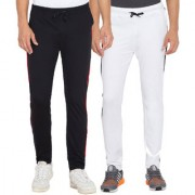 Cliths Men's Black White Slim Fit Cotton Solid Trackpants (Pack Of 2)