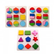 Puzzle 3D Educativ Copii 3 Planse Forme Geometrice din Lemn