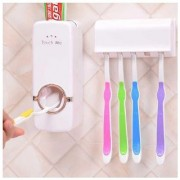 AUTOMATIC TOOTHPASTE DISPENSER (White) -- FREE TOOTH BRUSH HOLDER SET (holds 5 tooth brushes)