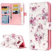 Para IPhone 8 Y 7 Rosa En Relieve Patrón Funda De Cuero Flip Horizontal Con 9 Ranuras Para Tarjetas Y Billetera Y Titular