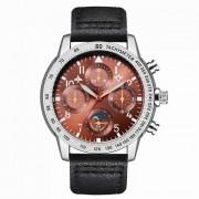 Hannah Martin 2256 reloj de cuarzo de la tripulacion de vuelo reloj PU correa de cuero 4 diales decorativos? 30m resistente al agua - negro