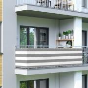 Jarolift Brise-vue pour balcon Basic, tissu respirant, Gris-Blanc, longueur 500 cm
