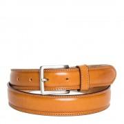 Made In Italy Cintura Uomo in Pelle di Vitello Spazzolato Miele 3,5cm