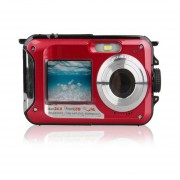 Doble Pantalla Impermeable 24MP Cámara De Vídeo Digital HD 1080P DV Easy Self Shot Rojo