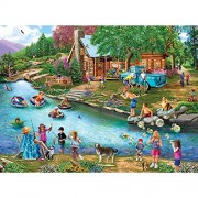 Bits and Pieces - 1000 Piece Jigsaw Puzzle for Adults - Summer Outing - 1000 pc Lake Cabin Jigsaw by Artist Mary Thompson