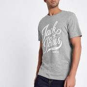 Jack and Jones Grijs / Jack and Jones - Grijs T-shirt met print en ronde hals Heren