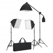 vidaXL Súprava štúdiového osvetlenia: 3 fotografické svetlá so statívom a softboxom