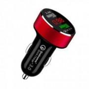 Incarcator Auto pentru Telefon. Dual USB Rosu Qualcomm Quick Charge afisaj voltaj incarcare si voltaj timp real baterie vehicul