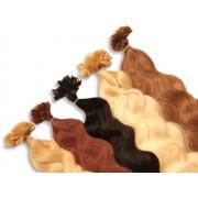 20 indische Echthaarsträhnen, U-Tip, gewellt, 40 cm - Haarverlängerung