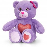 Ursulet cu inimioara Glitter Gems Keel Toys, 25 cm, Mov, 3 ani+