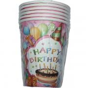Papír pohár 6 db/cs - happy birthday, tortás