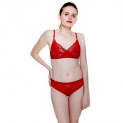 Fashion ComfortzKatty Red Lace bra & panty set for Womens Girls Ladies